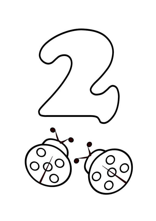 Number 2, : Kids Learn Number 2 with Two Ladybugs Coloring Page
