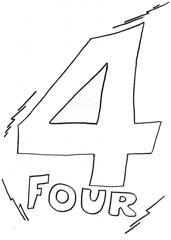 Number 4, : Kids Learn Number 4 Coloring Page