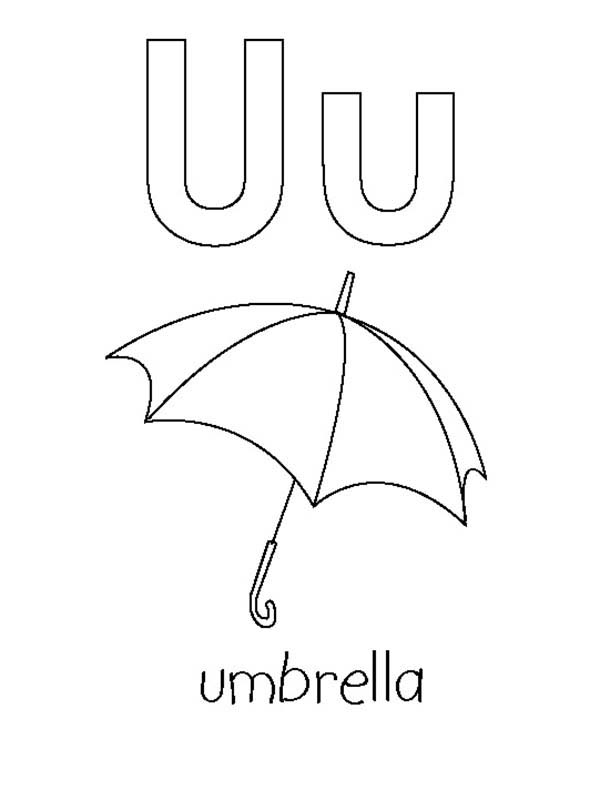 Letter U, : Kids Learning Big Case and Small Case Letter U Coloring Page