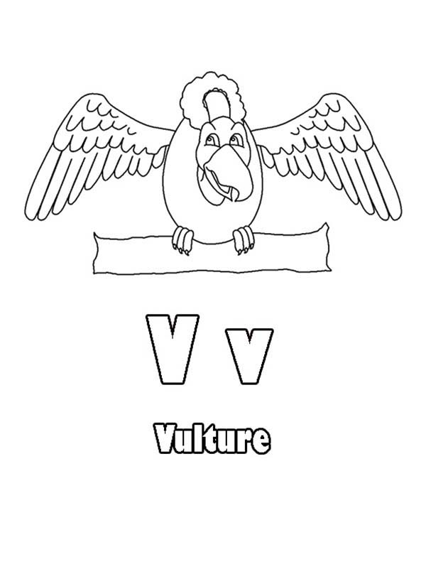 Letter V, : Kids Learning Letter V Coloring Page