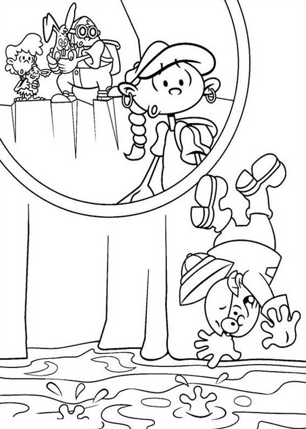 Kids Next Door, : Kids Next Door Coloring Pages Numbuh 2 Falling to Chemical Waste
