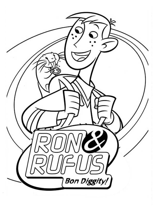Kim Possible, : Kim Possible Partner Ron and Rufus Coloring Pages