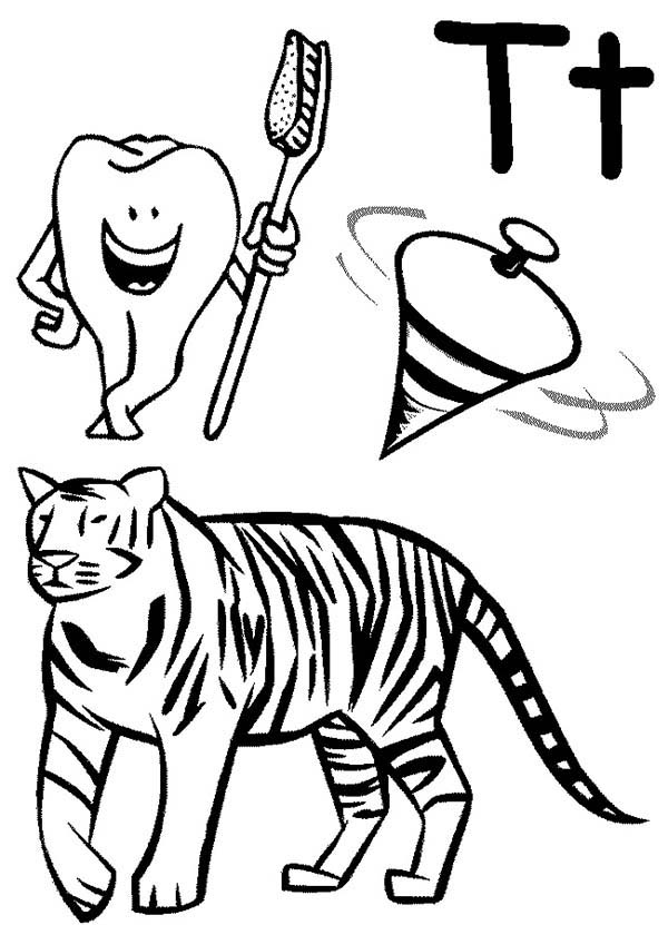Letter T, : Kindergarden Kids Learn Letter T Coloring Page