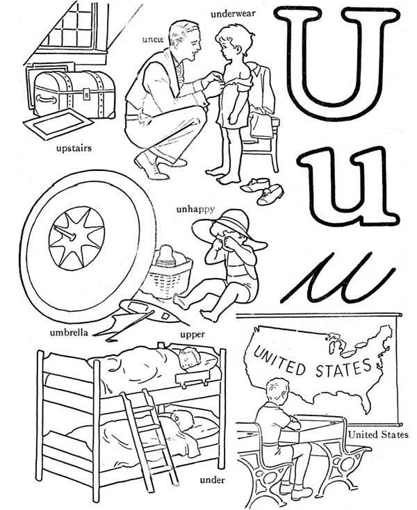 Letter U, : Kindergarden Kids Learn Letter U Coloring Page
