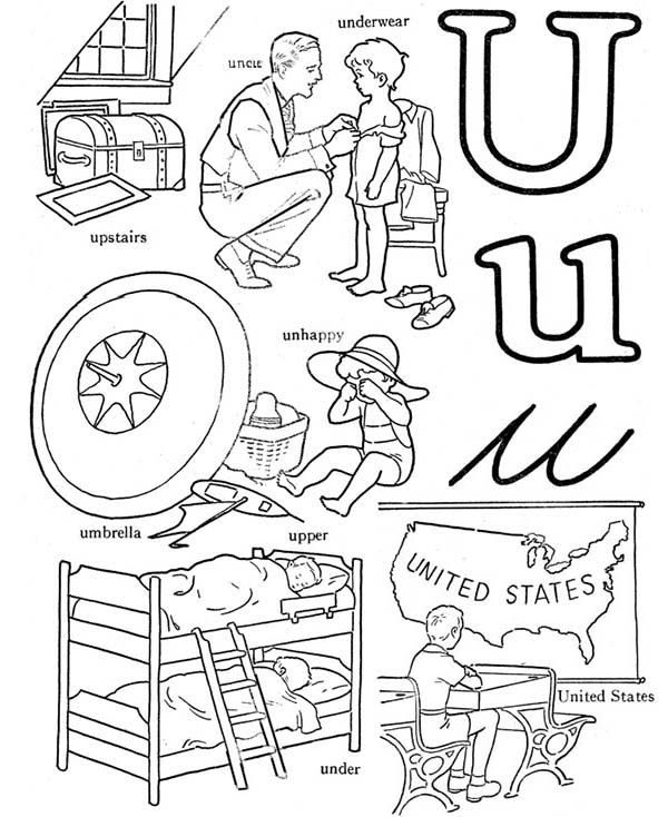 Letter U, : Kindergarden Kids Learn Letter U Coloring Page