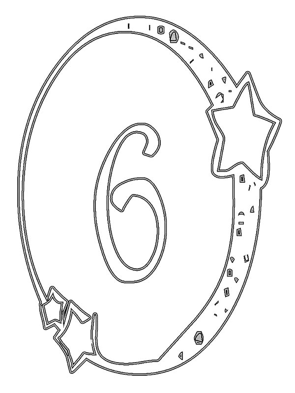 Number 6, : Kindergarden Kids Learn Number 6 Coloring Page