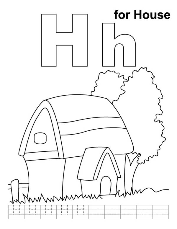 Letter H, : Kindergarten Kids Learn Words Starts with Letter H Coloring Page
