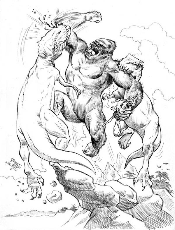 King Kong, : King Kong Fight to Death with Two Dinosaur Coloring Pages