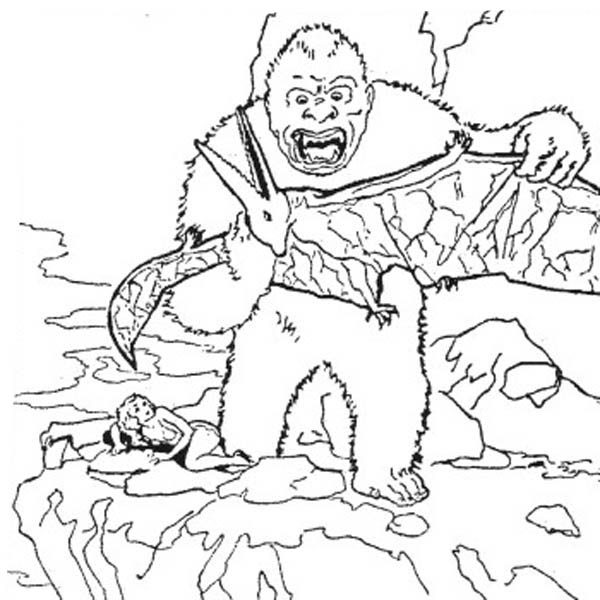 King Kong, : King Kong Kill Pteranodon Coloring Pages