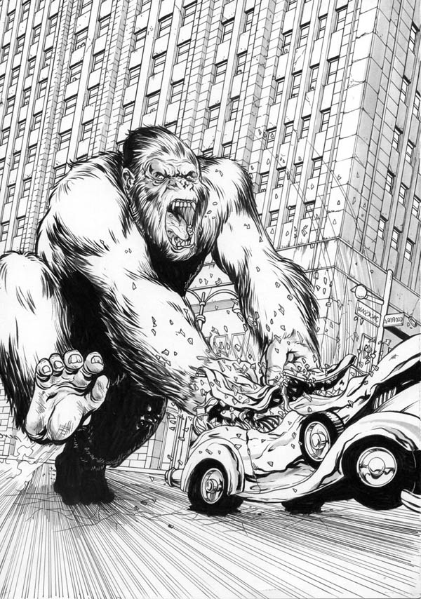 King Kong, : King Kong Smash Car into Another Car Coloring Pages