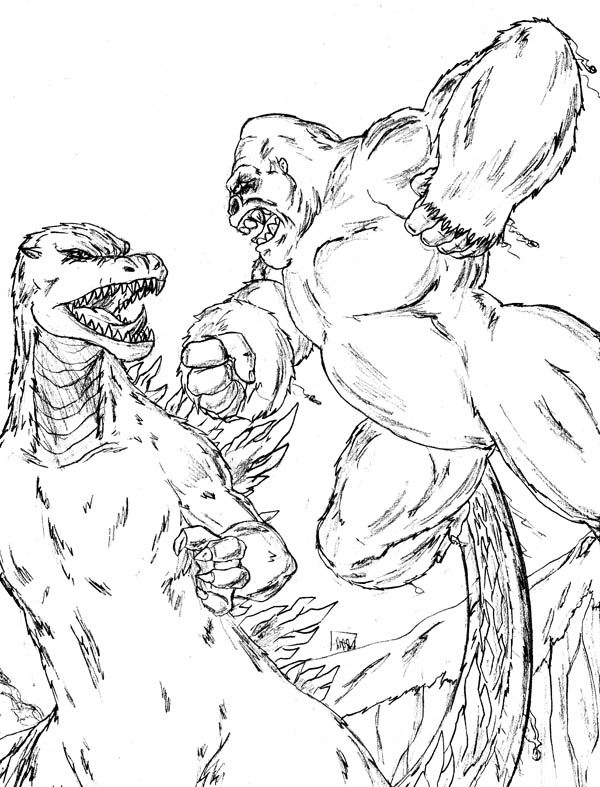 King Kong, : King Kong Versus Godzilla Coloring Pages