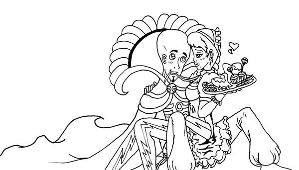 Megamind, : King Megamind and His Maid Coloring Pages
