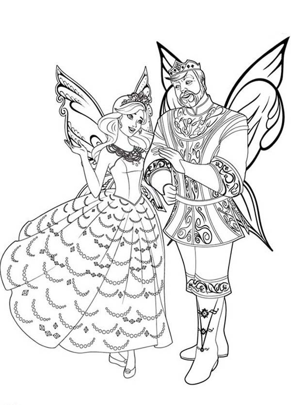 Barbie Mariposa, : King and Queen of Flutterfield Kingdom Barbie Mariposa Coloring Pages