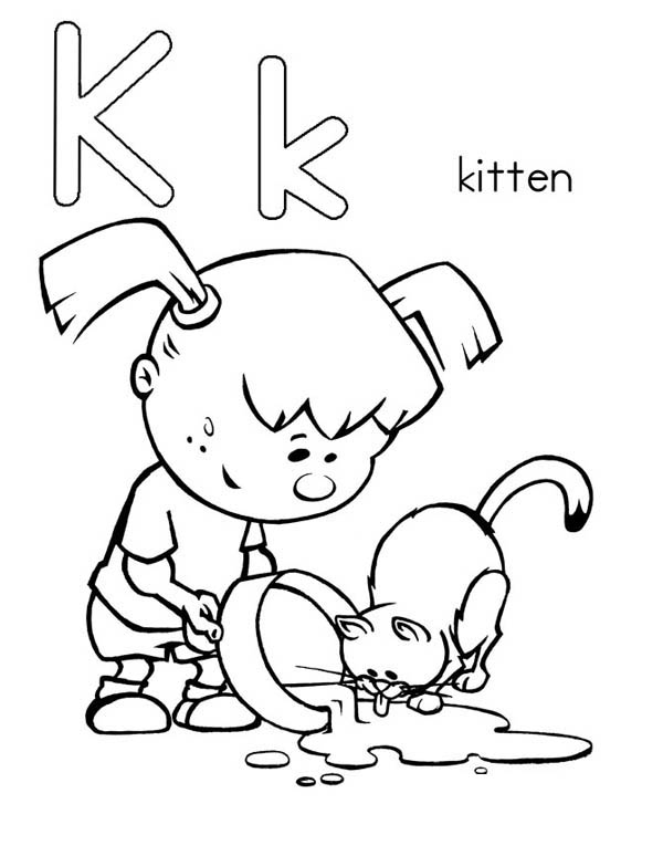 Letter K, : Kitten for Letter K Coloring Page
