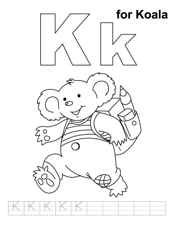 Letter K, : Koala for Letter K Coloring Page