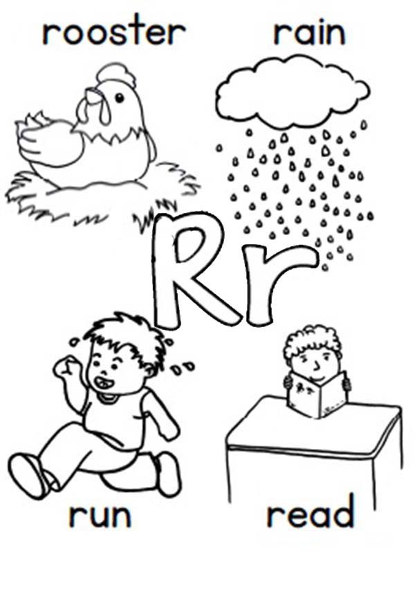 Letter R Learn Alphabet Letter R Coloring Page