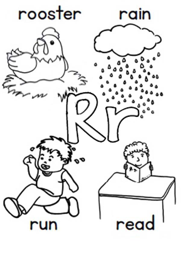 Letter R, : Learn Alphabet Letter R Coloring Page