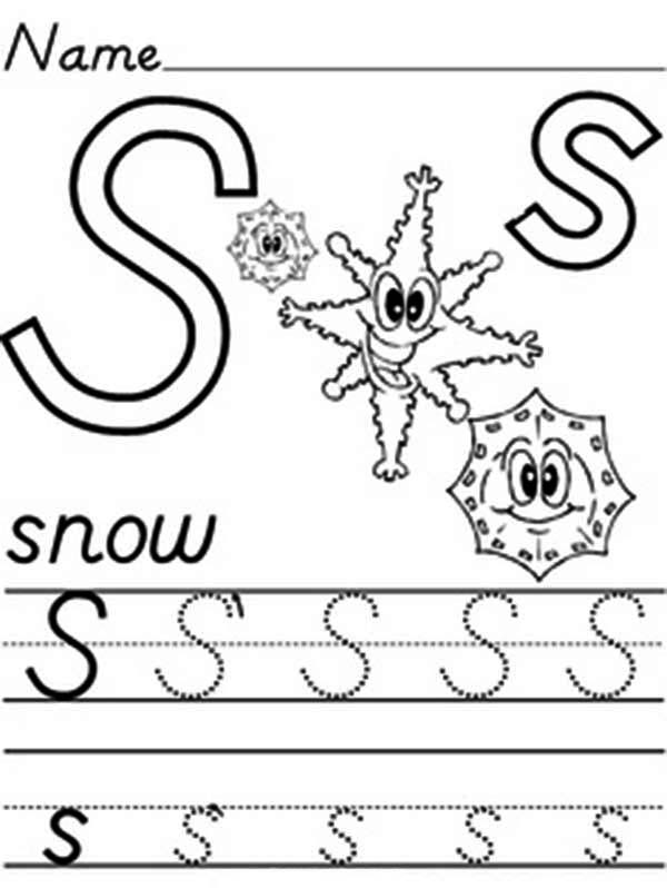 Letter S, : Learn Alphabet Letter S Worksheet Coloring Page