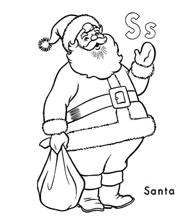 Letter S, : Learn Alphabet Letter S for Santa Claus Coloring Page