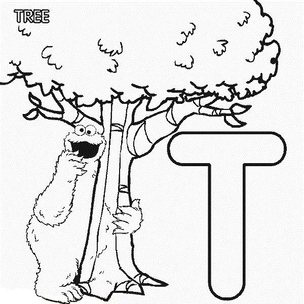 Letter T, : Learn Aplhabet Letter T for Tree in Sesame Street Coloring Page