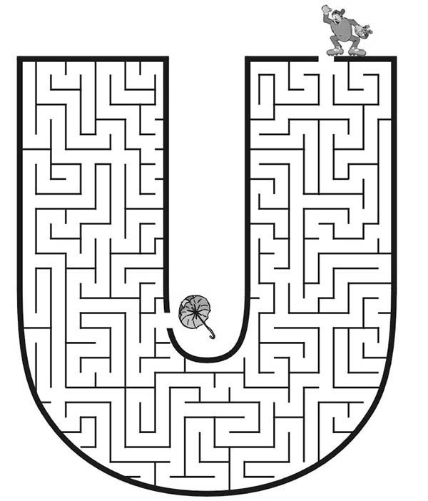 Letter U, : Learn Capital Letter U Maze Coloring Page