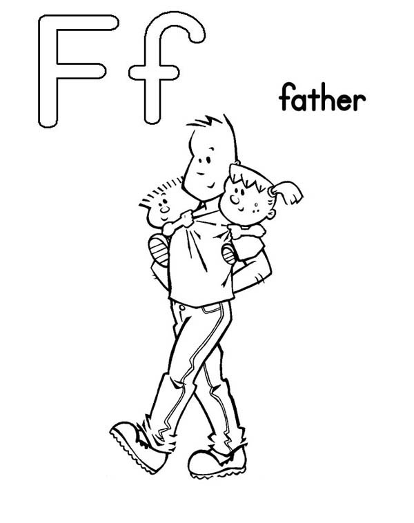 Letter F, : Learn Letter F for Father Coloring Page