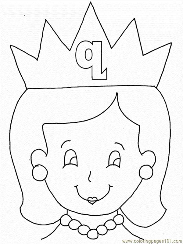 Letter Q, : Learn Letter Q is for Queen for Kids Coloring Page