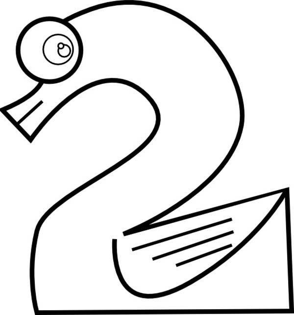 Number 2, : Learn Number 2 Coloring Page for Kids