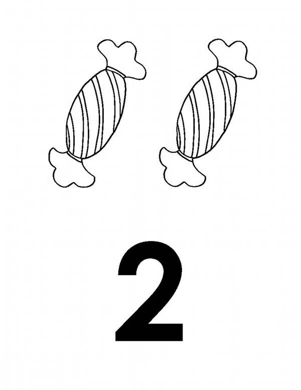 Number 2, : Learn Number 2 with Two Candies Coloring Page