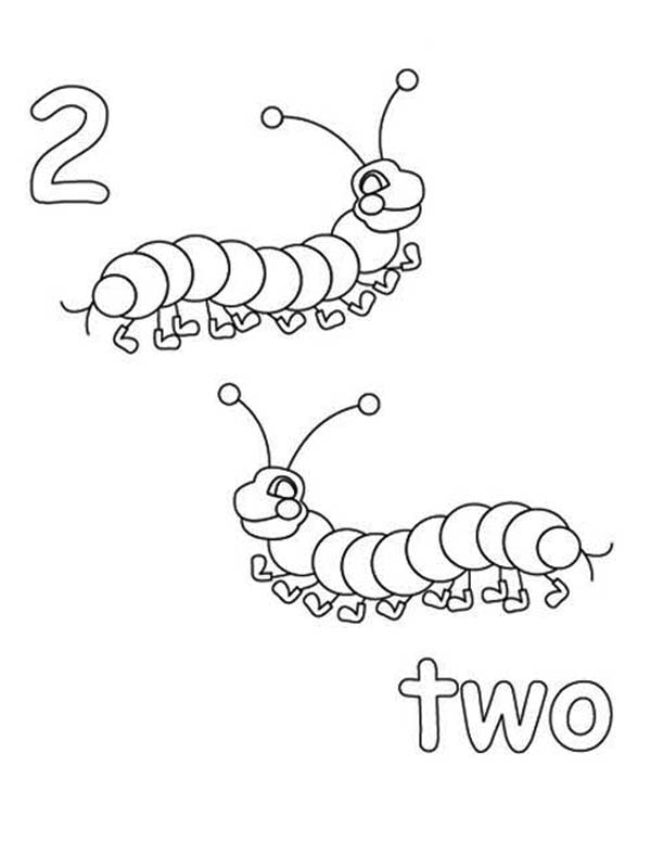 Number 2, : Learn Number 2 with Two Caterpillar Coloring Page