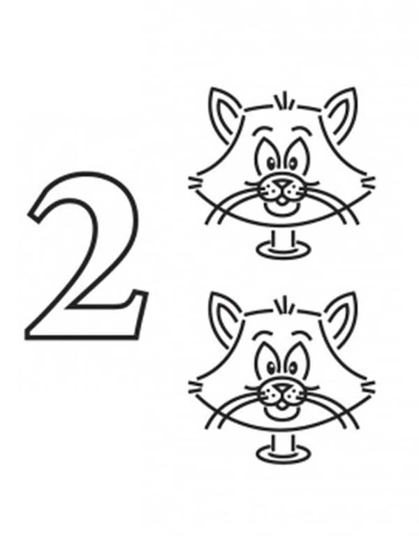 Number 2, : Learn Number 2 with Two Cats Coloring Page