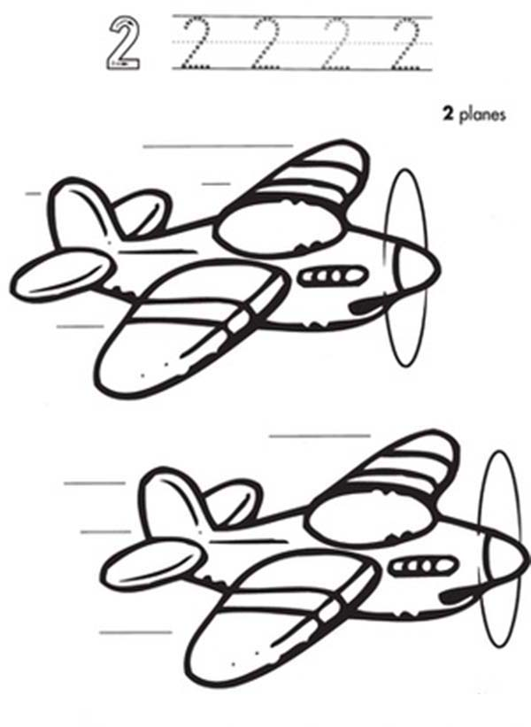 Number 2, : Learn Number 2 with Two Planes Coloring Page