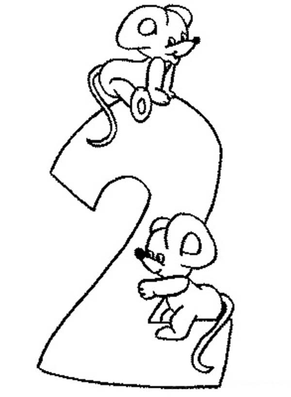 Number 2, : Learn Number 2 with Two Rats Coloring Page