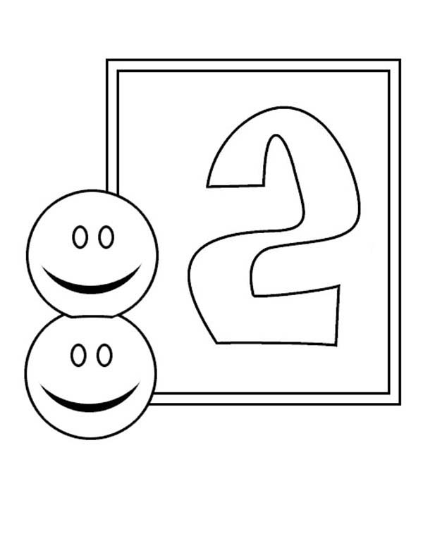 Number 2, : Learn Number 2 with Two Smiley Faces Coloring Page