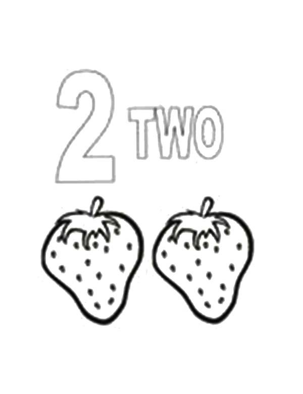 Number 2, : Learn Number 2 with Two Strawberries Coloring Page