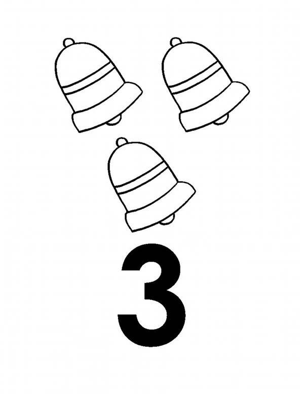 Number 3, : Learn Number 3 with Three Bells Coloring Page