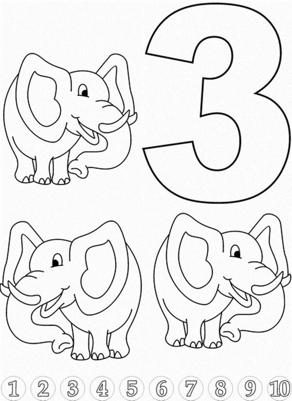 Number 3, : Learn Number 3 with Three Elephants Coloring Page