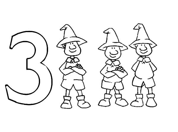 Number 3, : Learn Number 3 with Three Man Coloring Page