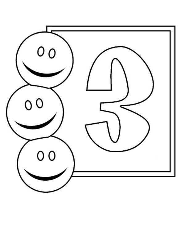 Number 3, : Learn Number 3 with Three Smiley Faces Coloring Page
