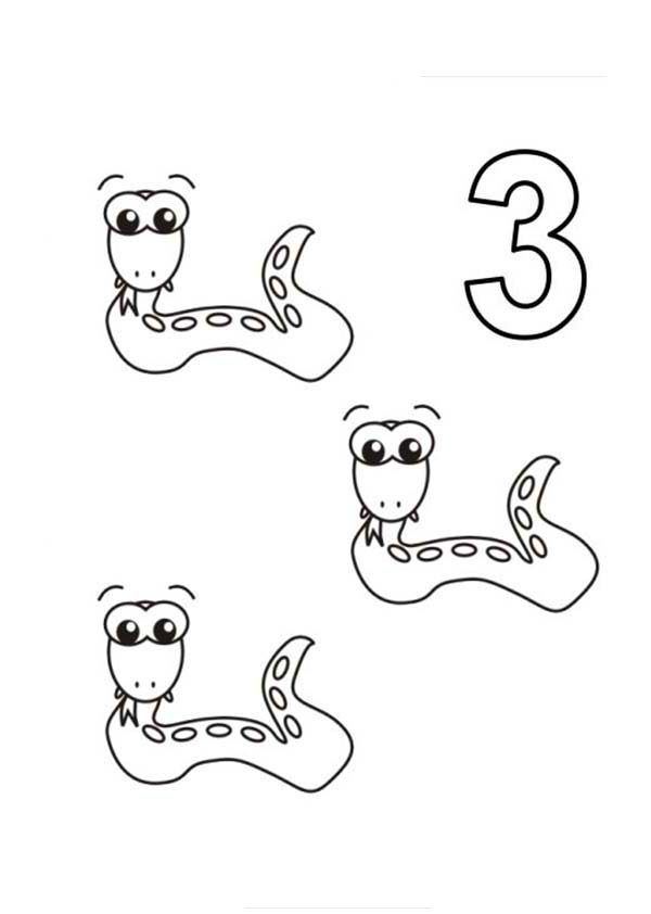 Number 3, : Learn Number 3 with Three Snakes Coloring Page