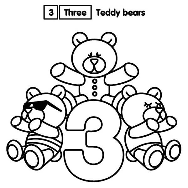 Number 3, : Learn Number 3 with Three Teddy Bears Coloring Page