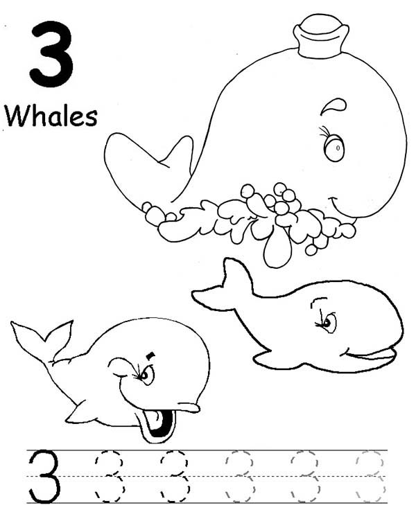 Number 3, : Learn Number 3 with Three Whales Coloring Page