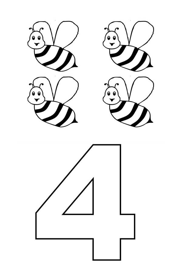 Number 4, : Learn Number 4 with Four Bees Coloring Page