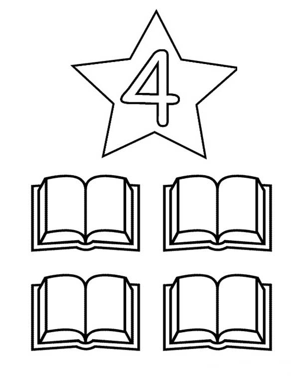 Number 4, : Learn Number 4 with Four Books Coloring Page