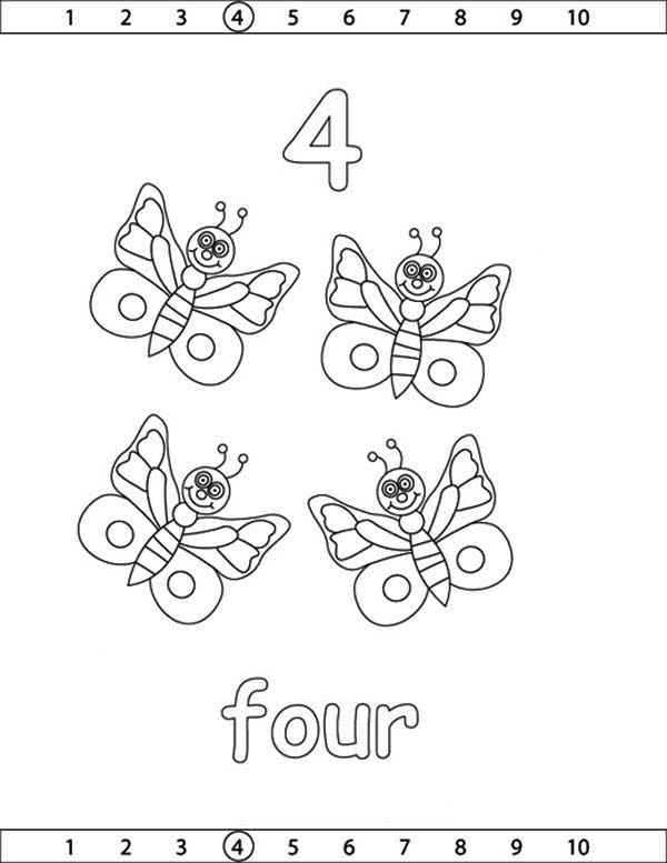 Number 4, : Learn Number 4 with Four Butterflies Coloring Page