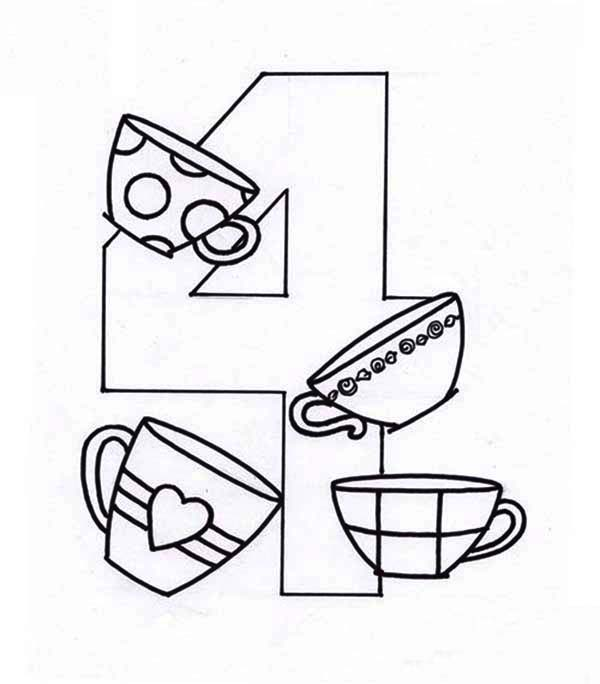 Number 4, : Learn Number 4 with Four Cups Coloring Page