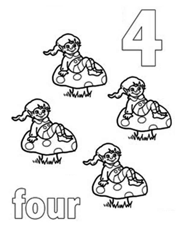 Number 4, : Learn Number 4 with Four Ducks Coloring Page