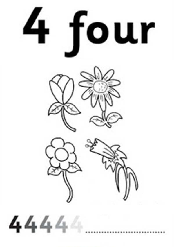 Number 4, : Learn Number 4 with Four Flowers Coloring Page