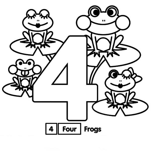 Number 4, : Learn Number 4 with Four Frogs Coloring Page
