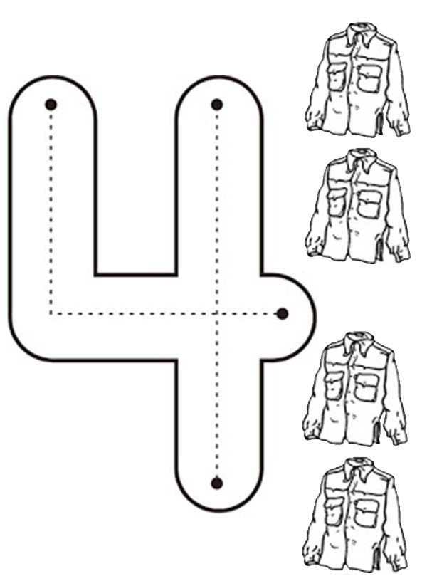 Number 4, : Learn Number 4 with Four Jackets Coloring Page